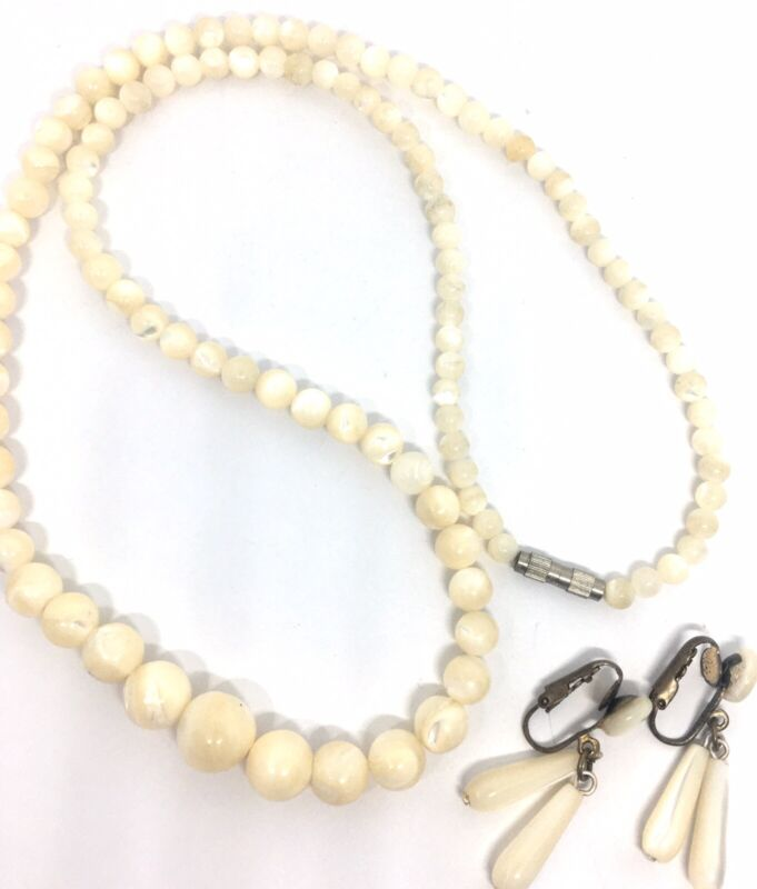 Beautiful Art Deco Carved Mother of Pearl Necklace Earrings Demi Vintage Jewelry