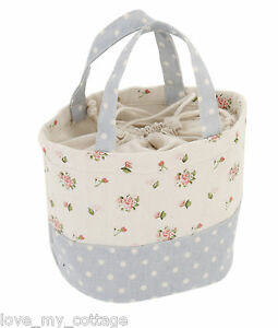Vintage Shabby Chic Canvas Shopper Tote Lunch Bag Floral Rose Polka Dot Fabric