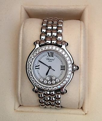 Chopard Happy Sport Ladies Diamond Watch 1.83 CTW White Gold/Stainless Steel EUC