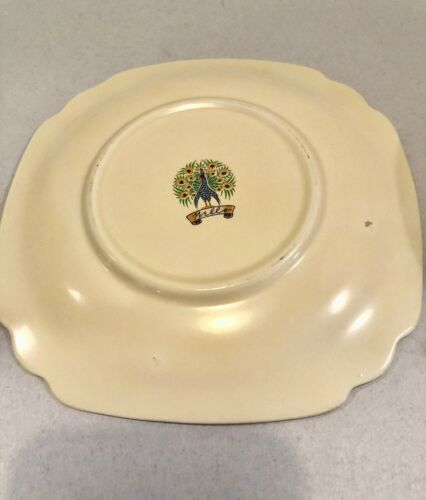 Homer Laughlin Wells Peacock Mark - English Garden  2 Fruit Bowls & 1 Dessert Pl