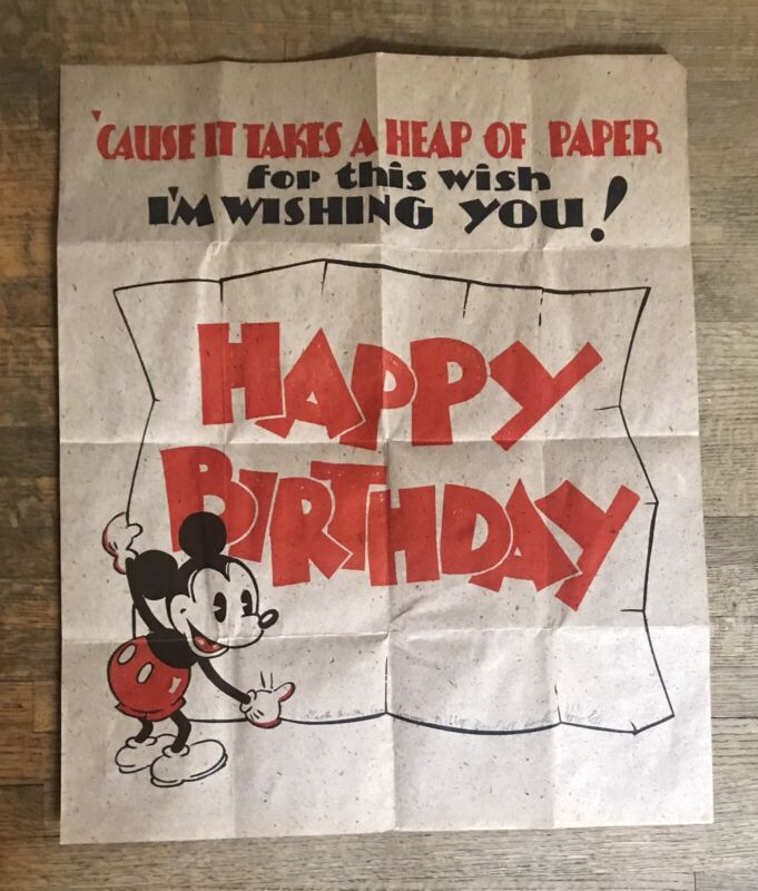Vintage Mickey Mouse Birthday Card 1934, Fold Out Poster, Walt Disney Enterprise