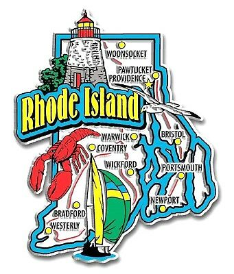 (Rhode Island Jumbo State Map Fridge Magnet)