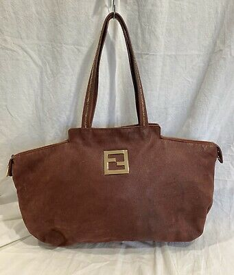 Genuine FENDI burgundy nubuck leather chains tote bag