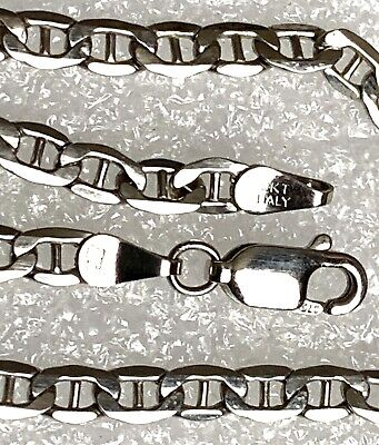 """9CT RARE WHITE GOLD ITALIAN FLAT ANCHOR LINK NECKLACE CHAIN 18.5""""INCHES 3.8GRAMS"""