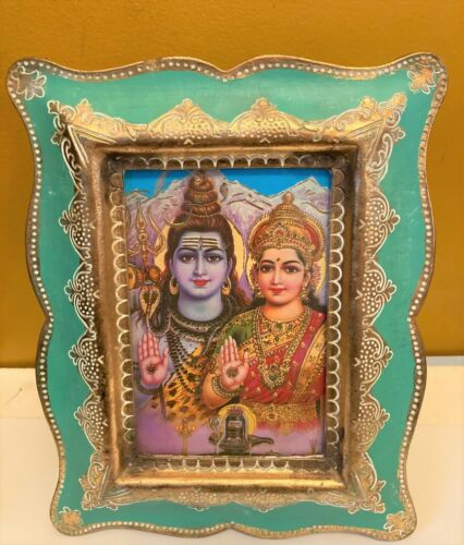"""Vintage Hindu Religious Lord Shiva & Parvati on Blue  Wooden Gilded Frame 7""""x 9"""""""