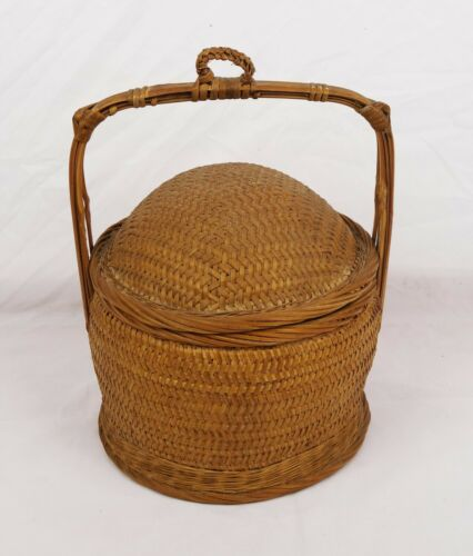 Vintage Chinese Wedding Basket Asian Woven Wicker Rattan Bamboo Oriental