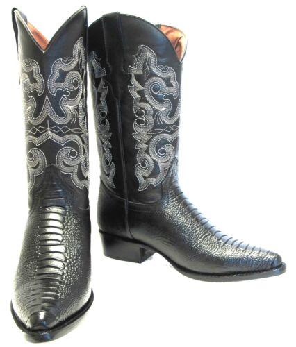 Mens, New, TW, Ostrich, Leg, Design, Leather, Cowboy, Western, Rodeo, J, Toe, Boots, Black,