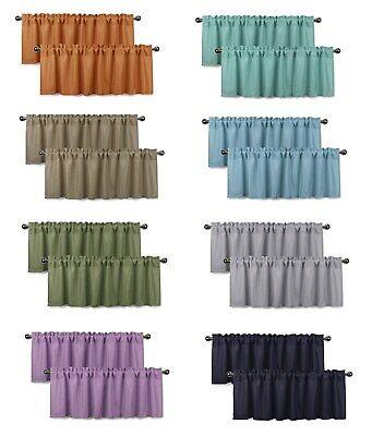 Faux Linen Semi-Sheer Window Valances (Set of 2, 56 x16 inch / each - Semi Sheer Window