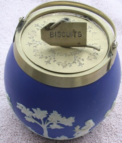 1876 Wedgwood Biscuit Jar Barrel with Unique