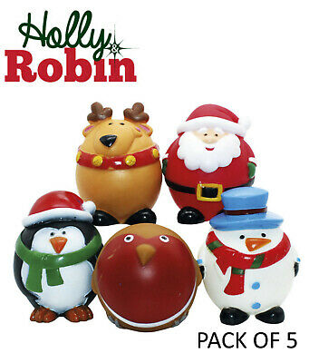 *NEW* HOLLY & ROBIN 5 PACK CHRISTMAS DOG TOYS SQUEAKY VINYL CHARACTERS 39585