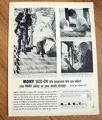 1960 Mony Mutual New York Ad Add On Life Insurance