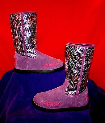 ED HARDY PURPLE SEQUINED GEISHA GIRL BOOTS YOUTH GIRLS SZ 5 / WOMEN'S SZ 6.5 - Girls Purple Sequin Boots