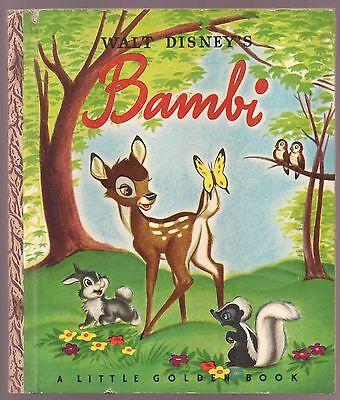 Vintage Childrens Disney Little Golden Book   Bambi   First Edition  1948 A