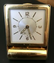 Vintage LeCoultre Vintage 8-Day Folding Brass Desk Alarm Clock  It's RARE!!!