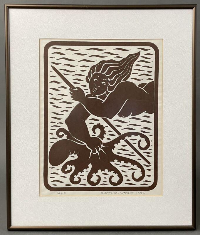 Vintage Dietrich Varez Hawaii Block Art Print He'e Octopus Framed Signed 1992
