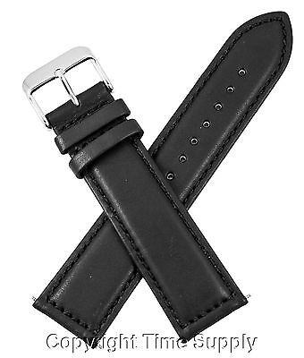 (22 mm BLACK CALF LEATHER PADDED WATCH BAND / STRAP NEW)