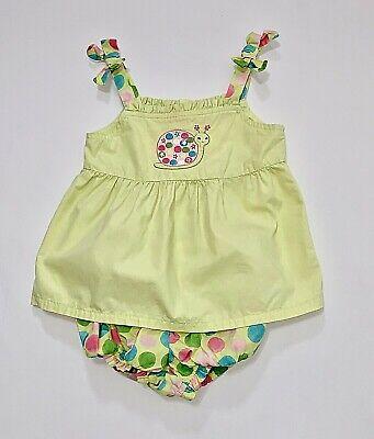 "Gymboree ""Flower Garden"" Snail Polka Dot Green Sun Top Bubble Shorts Set, 2T"