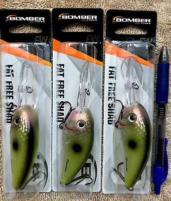 Bomber Fat Free Shad Texas Red Sparkle 3 sizes to choose from Discontinued!!