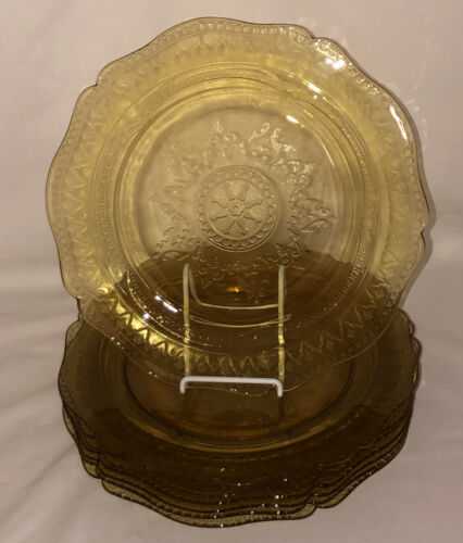 """8 Federal PATRICIAN AMBER * 10 1/2"""" DINNER PLATES*"""