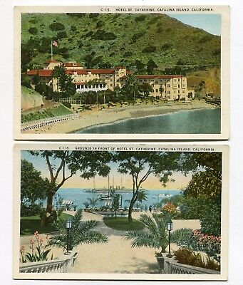 Vintage HOTEL ST CATHERINE Catalina Island CA  pair Grounds & View from the Sea