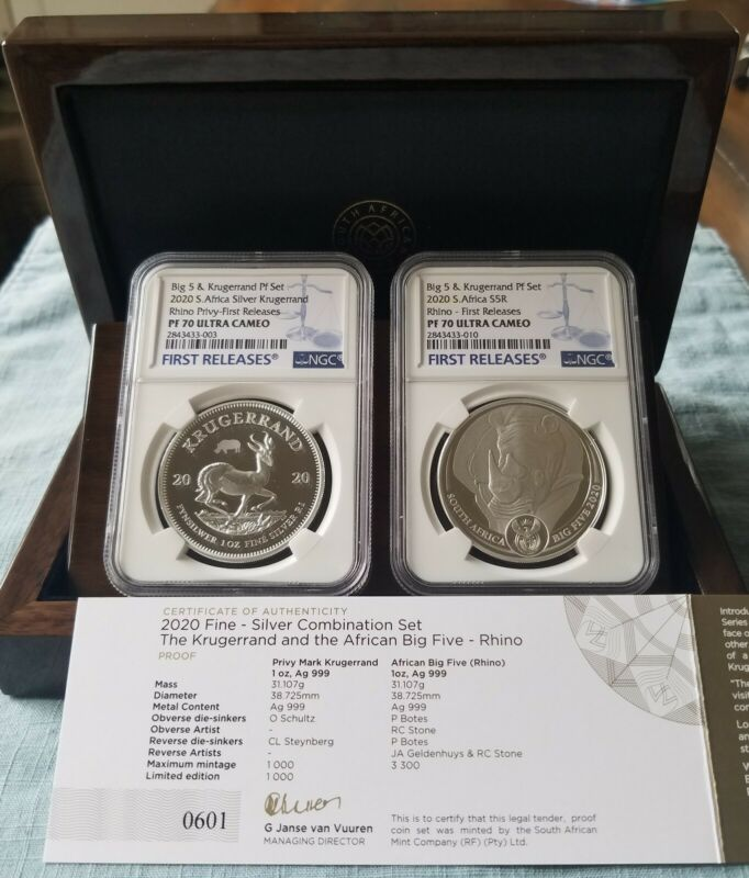 2020 SA Krugerrand/big5 RHINO Silver Proof 2 Coin Set PF70 FIRST RELEASES