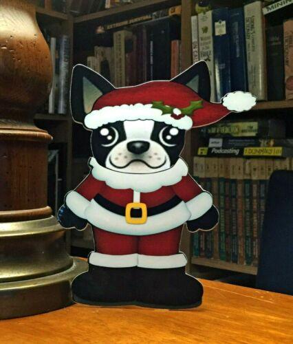 "Boston Terrier Mr Santa Christmas 7"" Decor"