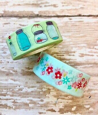 2 Rolls Mason Jar Floral Washi Tape  Decorative Masking Planner Supply Wedding  ()