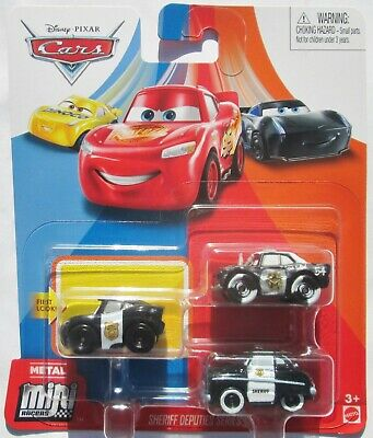 Disney Pixar Cars Mini Racers 3-Pack - Sheriff - APB - Officer Lightning McQueen