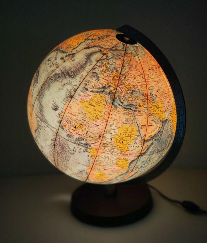 Vintage Mid-Century Meredith Globe Illuminated Earth Night Light Lamp Wood Base