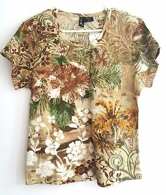 WOMEN'S SIZE M SHORT SLEEVES PRINTED PULL OVER TOP  by ZASHI