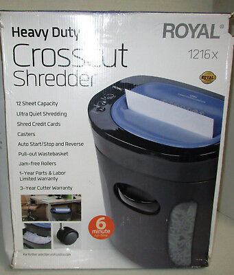 Royal 12 Sheet Cross Cut Paper Shredder 1216x Heavy Duty Ultra Quiet