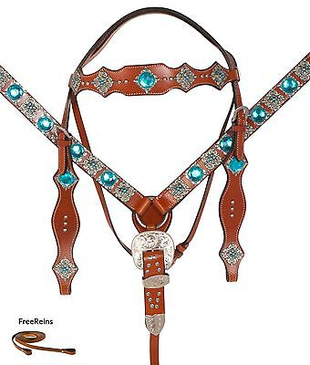 TURQUOISE WESTERN HORSE SHOW LEATHER BRIDLE HEADSTALL  BREAST COLLAR TACK
