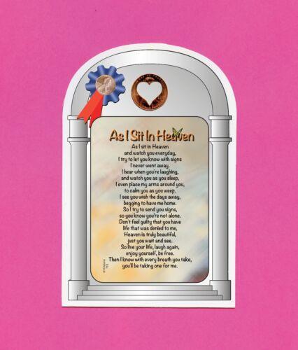 """As I Sit In Heaven"" Memorial Poem - Verse Card w/ Heart Penny - sku# 713"