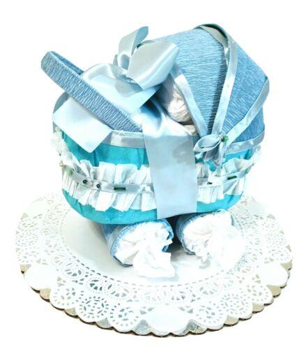 Gorgeous Diaper Cake Blue Stroller Bassinet Baby Shower Gift