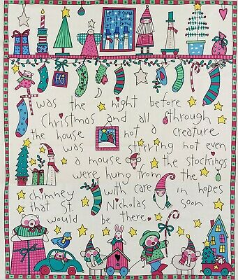 "Twas the Night Before Christmas Cotton Fabric Panel Hobby Lobby 2003 35"" x 43"""