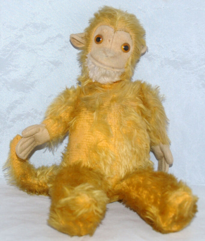 ANTIQUE VINTAGE GOLDEN YELLOW MOHAIR STUFFED MONKEY JOCKO STEIFF SCHUCO ANIMAL