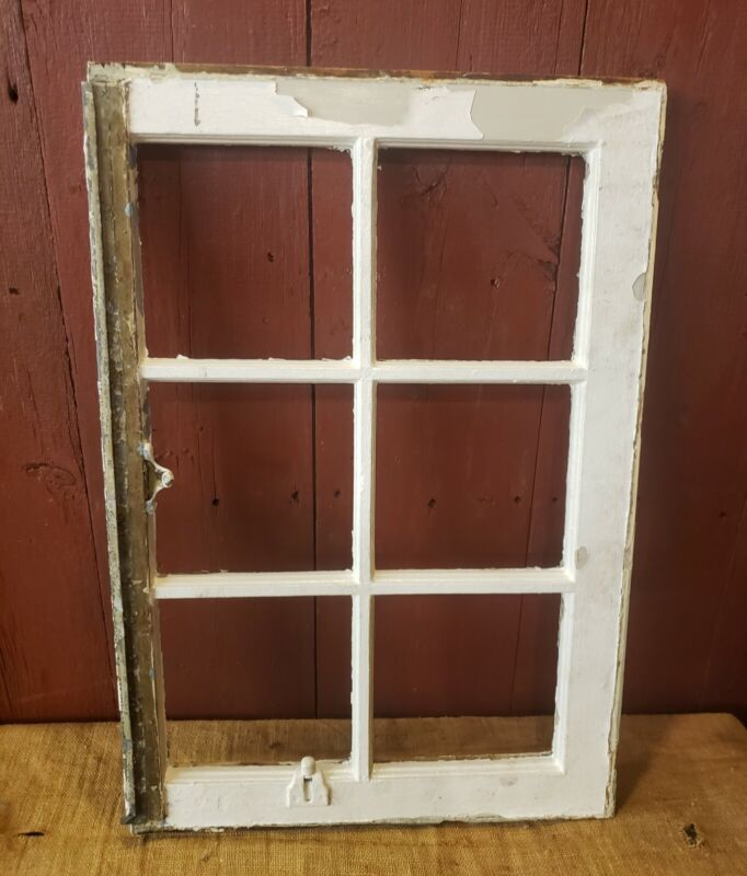 VINTAGE CHIPPY WHITE WOODEN FARMHOUSE WINDOW FRAME WOOD 6 PANED DIY PHOTO PRIM