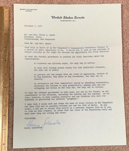 BARRY GOLDWATER  US SENATOR ARIZONA SIGNED IMPORTANT LETTER 1964