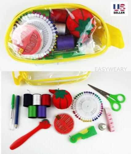 Sewing Kit Measure Scissor Thimble Thread Needle Storage Bag Travel Set Pack