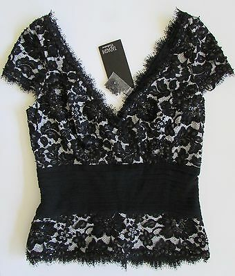 NWT Tadashi Collection Womens Formal Black Sequin Lace Top Sz 6  $248
