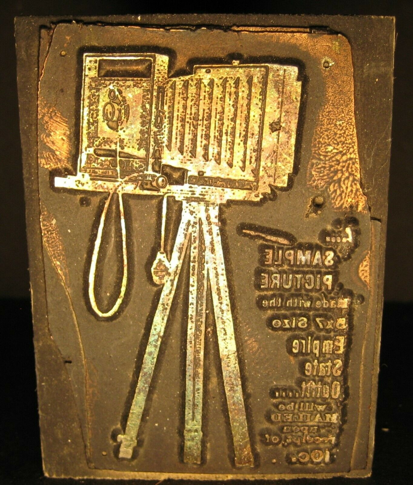 Antique 3 Advertising Printers Block 5x7 Size Empire State Outfit Camera VGC - $35.00