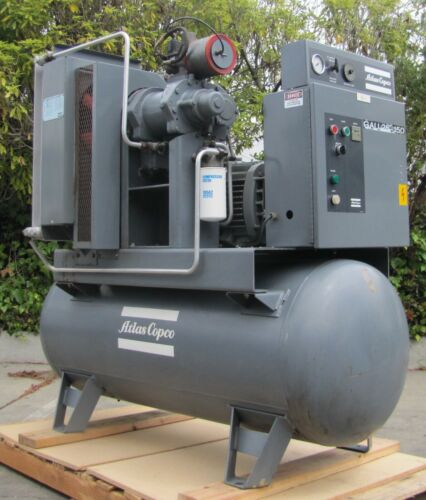 Atlas Copco GAU 25hp Rotary Screw Air Compressor & Tank 230/460V GE Motor