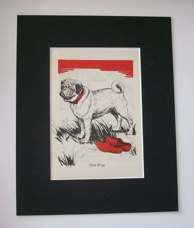 Pug Diana Thorne Bookplate Print 1940 Matted Dog In Field With Wooden Shoes
