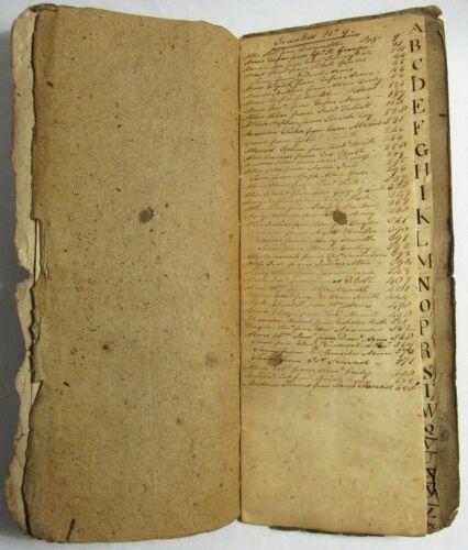 Antique 1795 MASSACHUSETTS American MANUSCRIPT INDEX LEDGER Handwritten Book