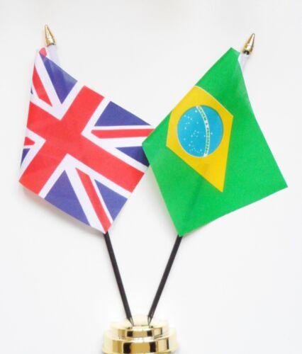United Kingdom & Brazil Double Friendship Table Flag Set
