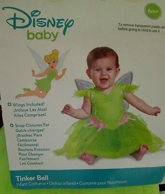 Disney Baby TINKER BELL Infant COSTUME 6-12 months NEW Dress & Detachable Wings](Infant Tinkerbell Costume 6 Months)