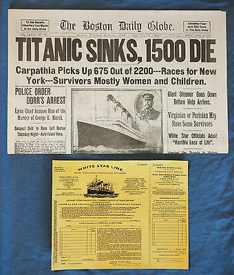 1912 Titanic Boston Daily Globe Newspaper   3Rd Class Ticket Rp Great Xmas Gift