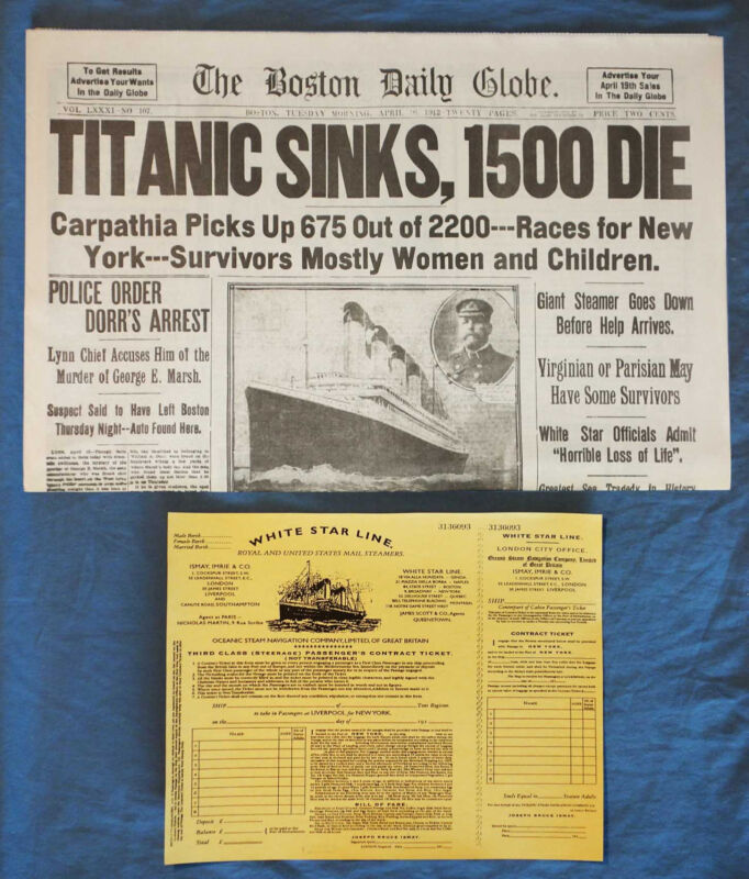 1912 Titanic Boston Daily Globe Newspaper Reprint + 3rd Class Ticket RMS Sinking