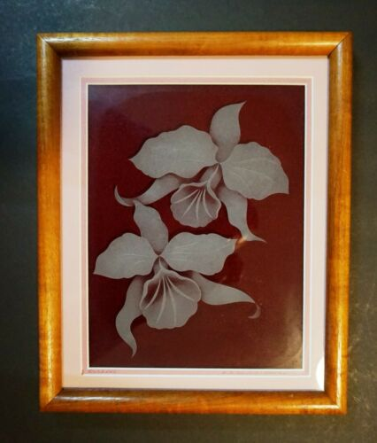 """Vintage MCM Koa Framed & Matted Glass Etching """"Orchids"""" Signed R B Swing Hawaii"""