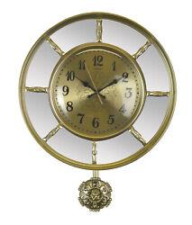 Round Gold Wall Clock Segmented Mirrors Ornate Pendulum Classy Elegant Wall Deco